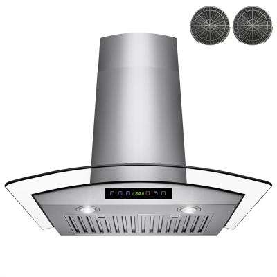 30 in. Convertible Wall Mount Range Hood in Stainless Steel with Tempered Glass, Touch Control and Carbon Filters