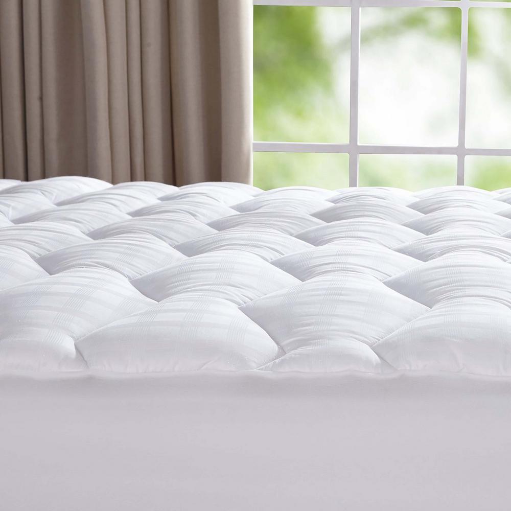 Puredown 500 Thread Count 100% Cotton Down Alternative Mattress Pad King in White