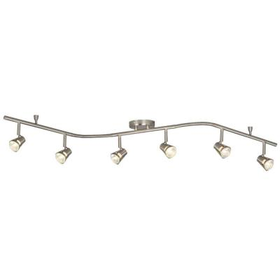 Negron 6-Light Brushed Nickel Track Lighting Wave Bar with Directional Heads