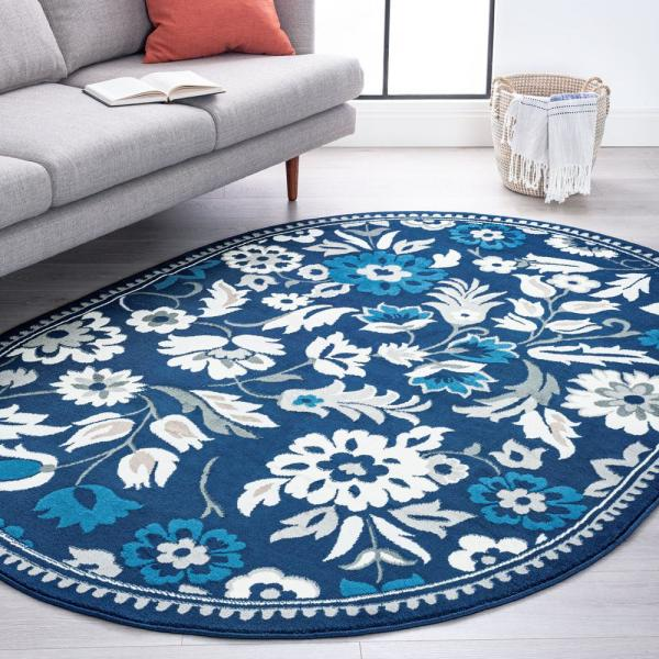 Tayse Rugs Madison Dark Blue 5 Ft 3 In X 7 Ft 3 In Indoor Oval Area Rug Mdn4307 5x8ovl The Home Depot