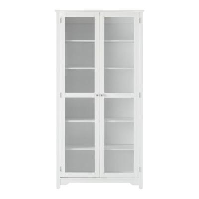 Bradstone 72.2 in. White Bookcase with Glass Doors