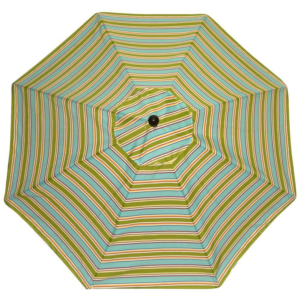 Plantation Patterns 9 ft. Patio Umbrella in Beach Stripe-DISCONTINUED