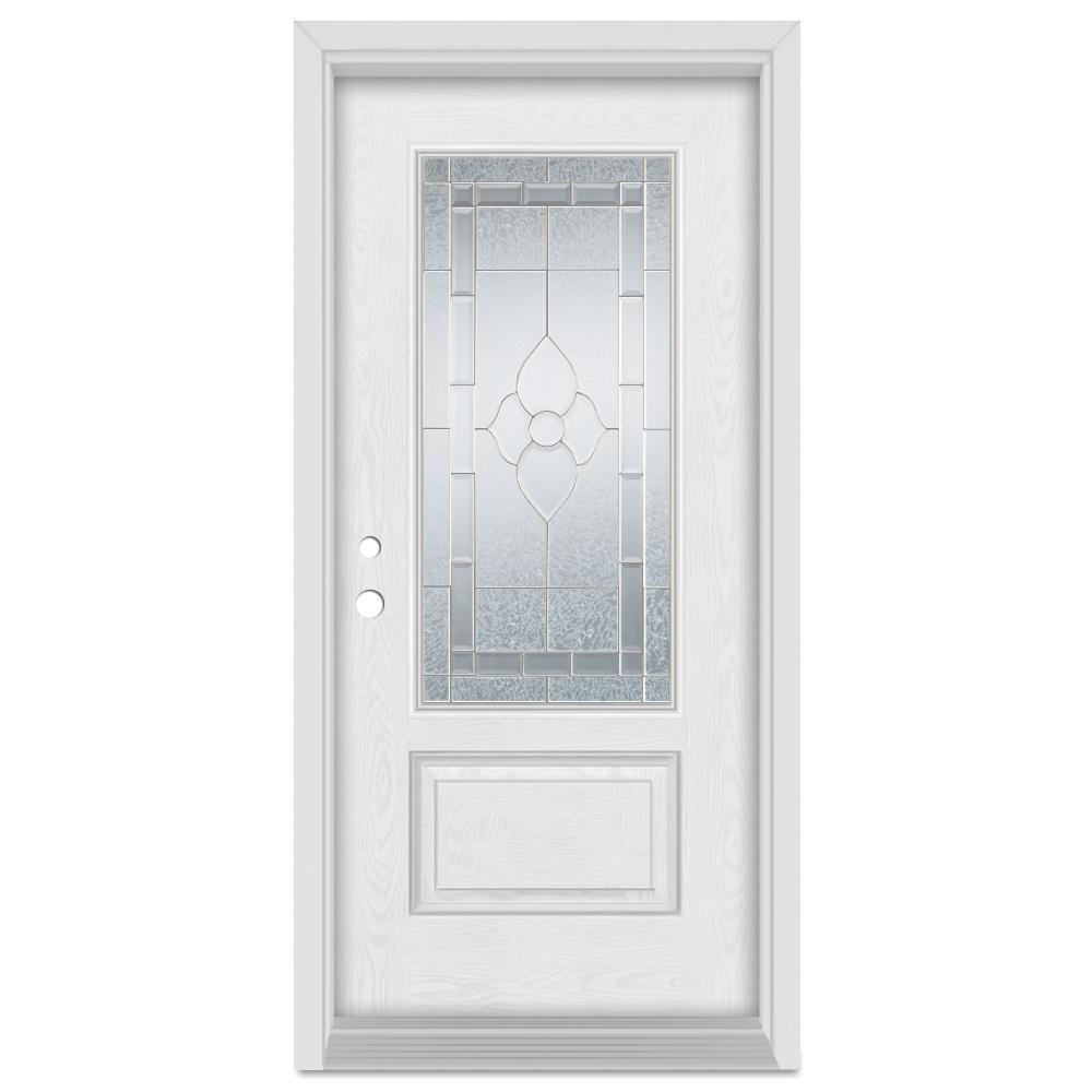 37.375 in. x 83 in. Traditional Right-Hand Zinc Finished Fiberglass Oak Woodgrain Prehung Front Door Brickmould