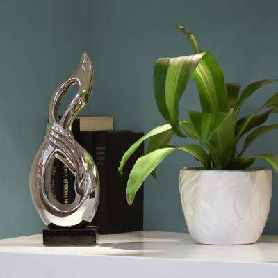 14.25 in. H Abstract Decorative Sculpture in Gray Polished Chrome Finish