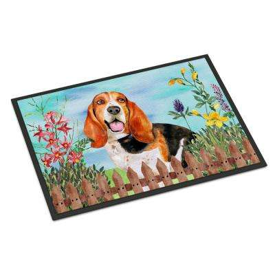 18 in. x 27 in. Indoor/Outdoor Basset Hound Spring Door Mat