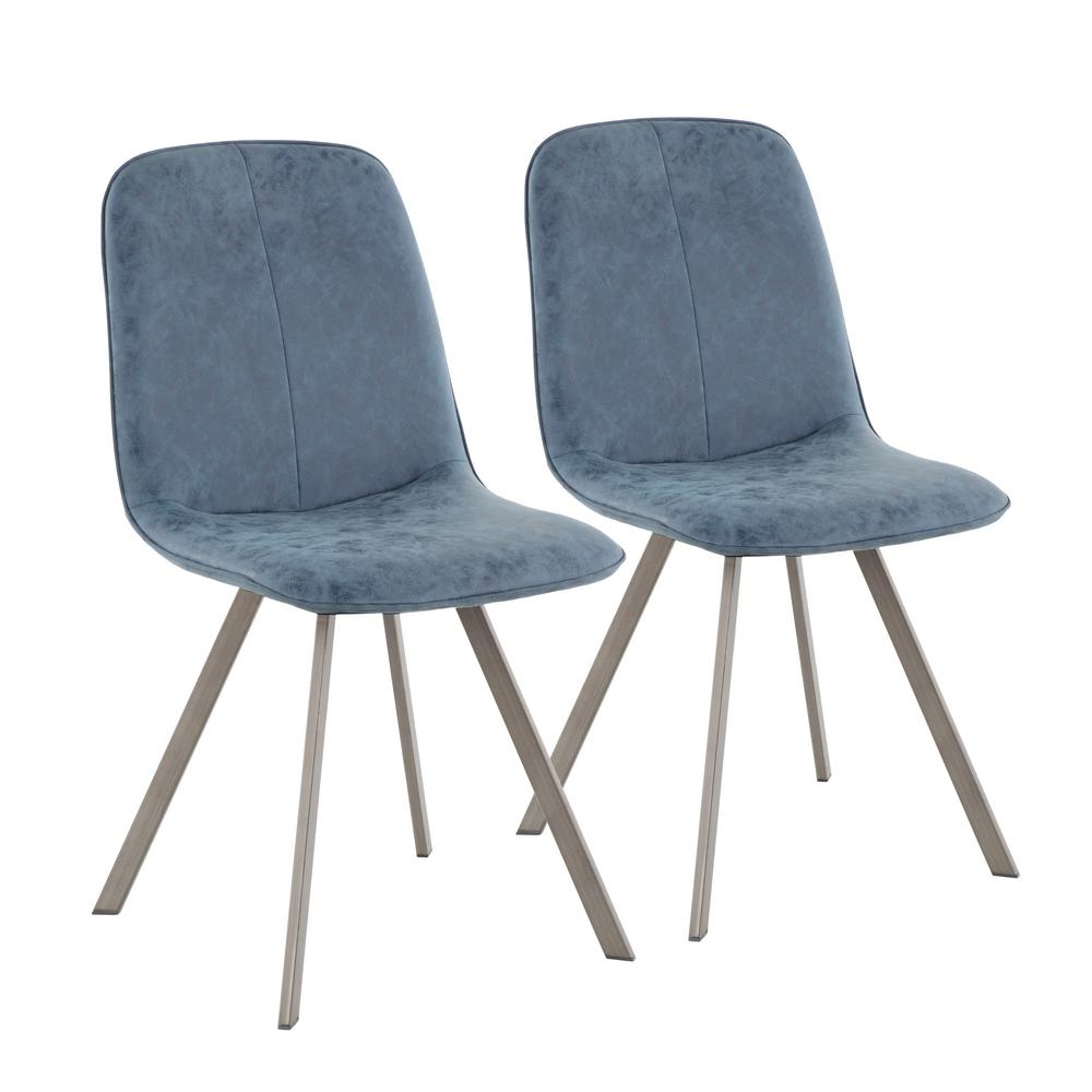 Lumisource Sedona Antique Metal And Blue Fabric Dining/Accent Chair (Set Of  2)