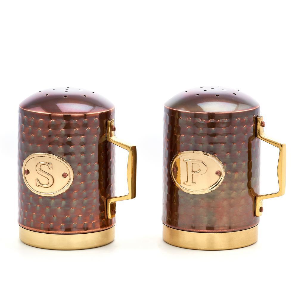 4.25 in. Decor Hammered Antique Copper Stovetop Salt and Pepper Set