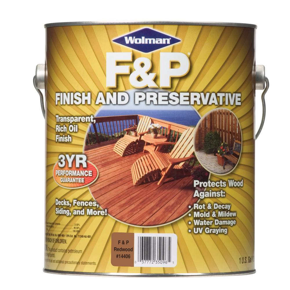 Wolman 1 Gal F And P Natural Exterior Wood Stain Finish: Wolman 1 Gal. Redwood F And P Finish And Preservative