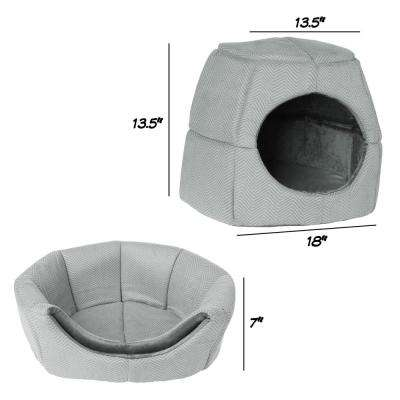 Small to Medium 2 in 1 Convertible Pet Bed with Enclosed Cave