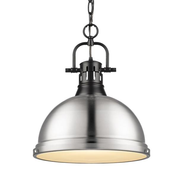 Duncan 1-Light Pendant with Chain in Black with a Pewter Shade