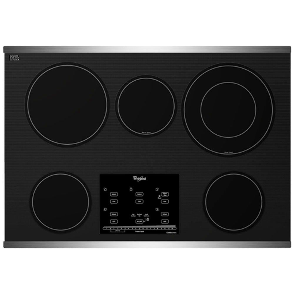 Whirlpool Gold 30 in. Radiant Electric Cooktop in Stainless Steel with 5 Elements including AccuSimmer Plus Element