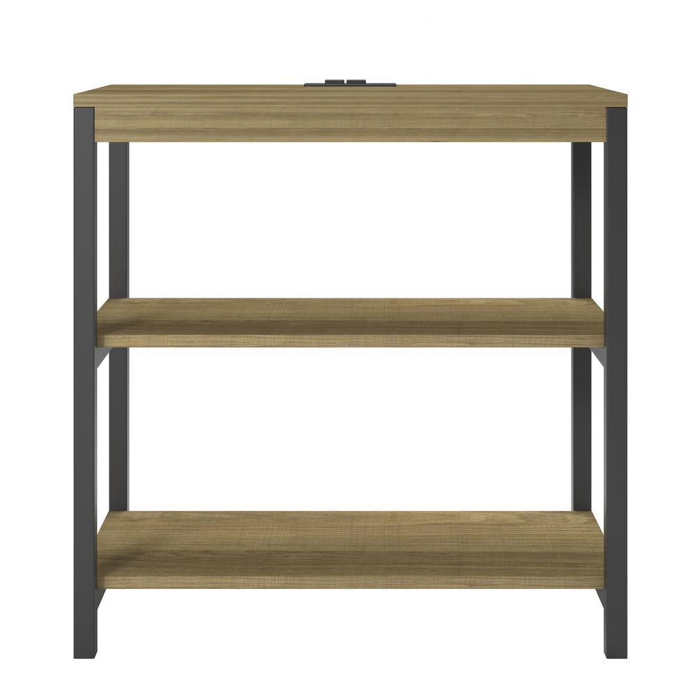 24.46 in. Golden Oak Metal 3-shelf Etagere Bookcase with Open Back