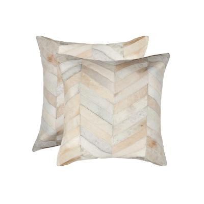 Torino Chevron Cowhide Natural Solid 18 in. x 18 in. Throw Pillow (Set of 2)
