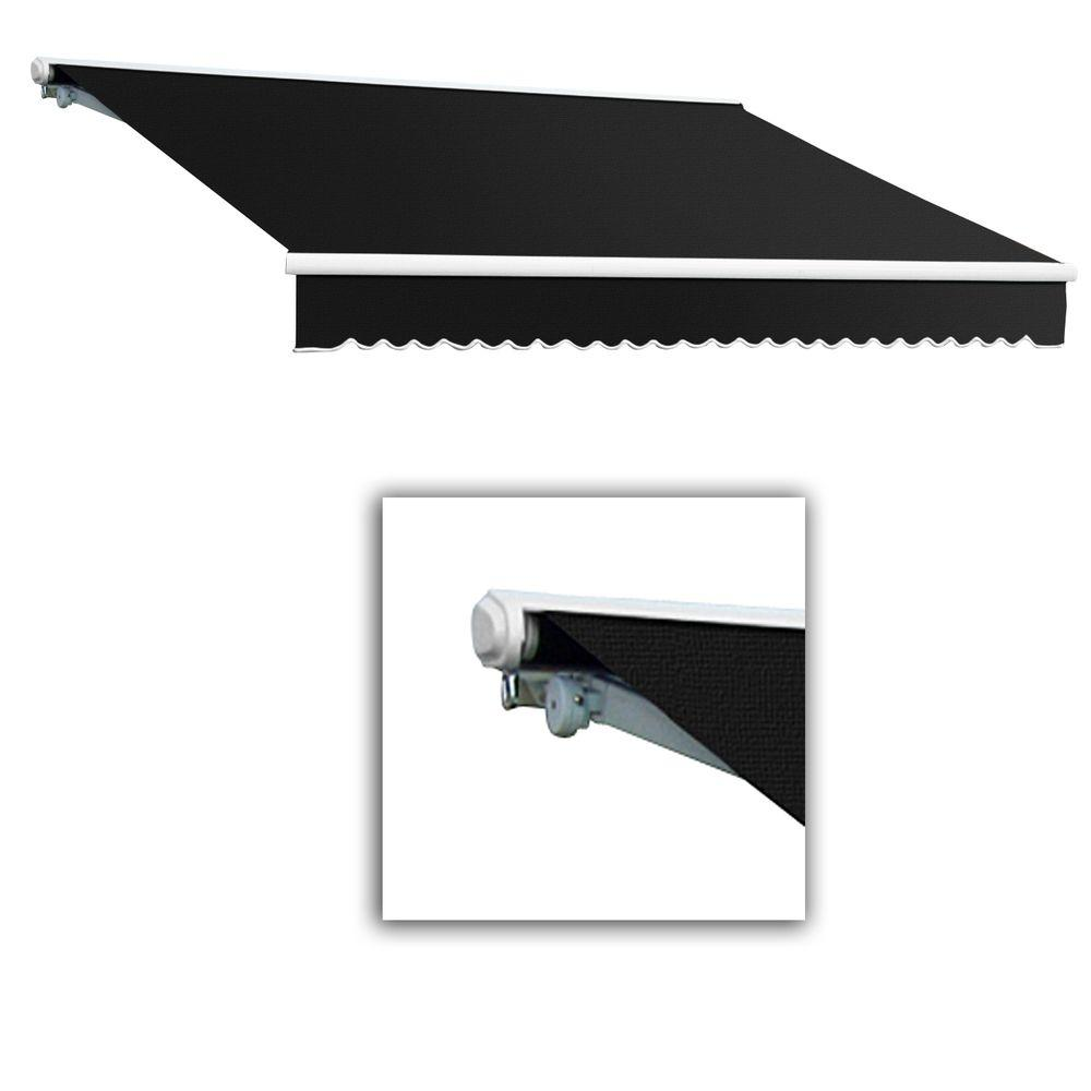 AWNTECH 12 ft. Galveston Semi-Cassette Right Motor with Remote Retractable Awning (120 in. Projection) in Black