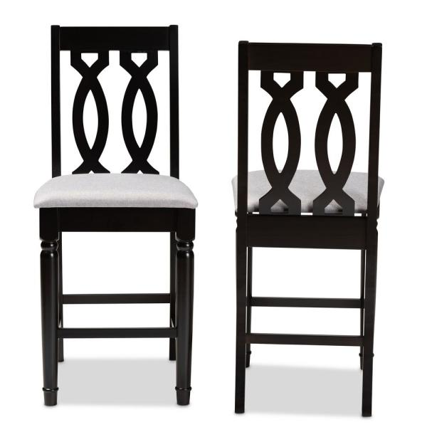 Darcie 43 in. Gray and Espresso Counter Stool (Set of 2)