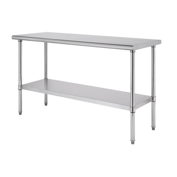 EcoStorage Stainless Steel 60 in. x 24 in. NSF Kitchen Utility Table with Adjustable Bottom Shelf