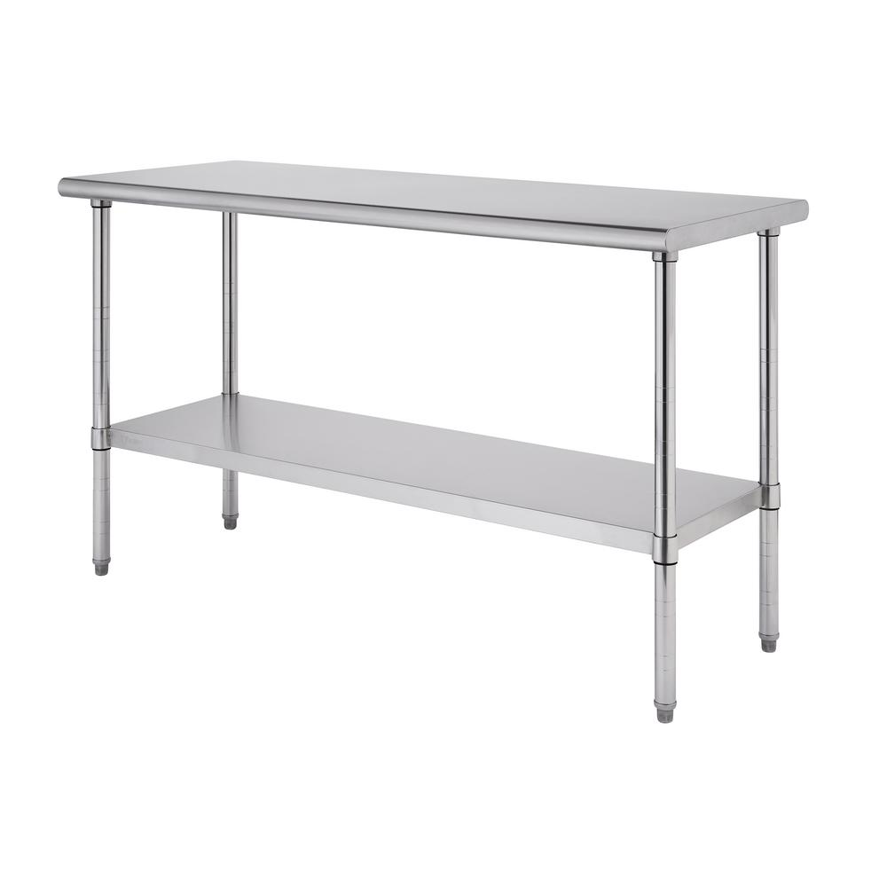 TRINITY EcoStorage Stainless Steel 60 in. x 24 in. NSF Kitchen Utility Table with Adjustable Bottom Shelf, Silver was $299.99 now $179.99 (40.0% off)