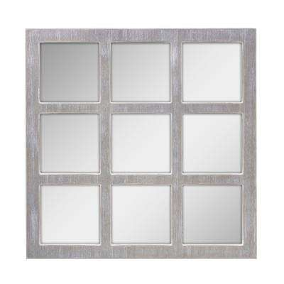 Worn White 9-Panel Window Pane Decorative Wall Mirror