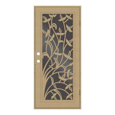 30 in. x 80 in. Yale Desert Sand Right-Hand Surface Mount Security Door with Black Perforated Metal Screen