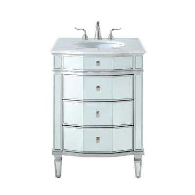 Timeless Home 26 in. W x 22 in. D x 36 in. H Single Bathroom Vanity in Silver with White Marble Top and White Basin