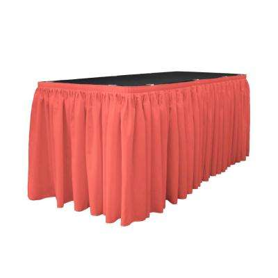 17 ft. x 29 in. L with 10 L-Clips Coral Polyester Poplin Table Skirt
