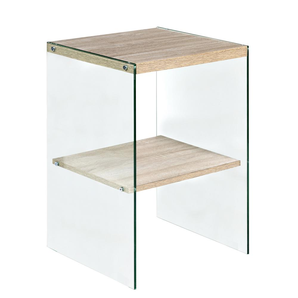 Charmant OneSpace Escher Skye Accent End Table, Glass And Wood, Light Oak