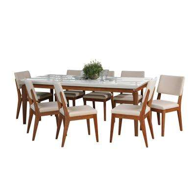 Payson 82.67 in. and Dover 9-Piece White Gloss and Beige Dining Set