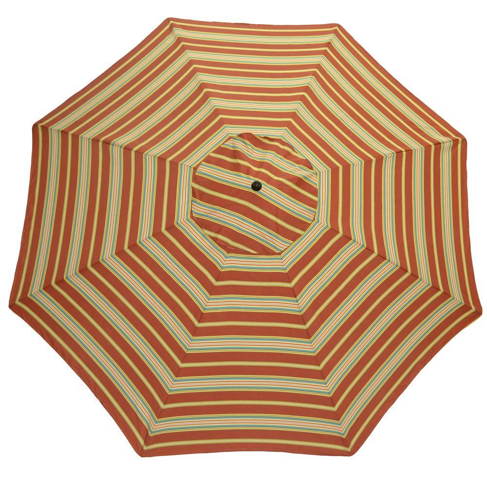 Plantation Patterns 11 ft. Patio Umbrella in Cayenne Stripe-DISCONTINUED