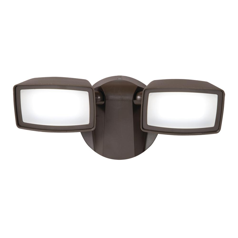 Halo Bronze Outdoor Integrated LED Twin-Head Security Flo...