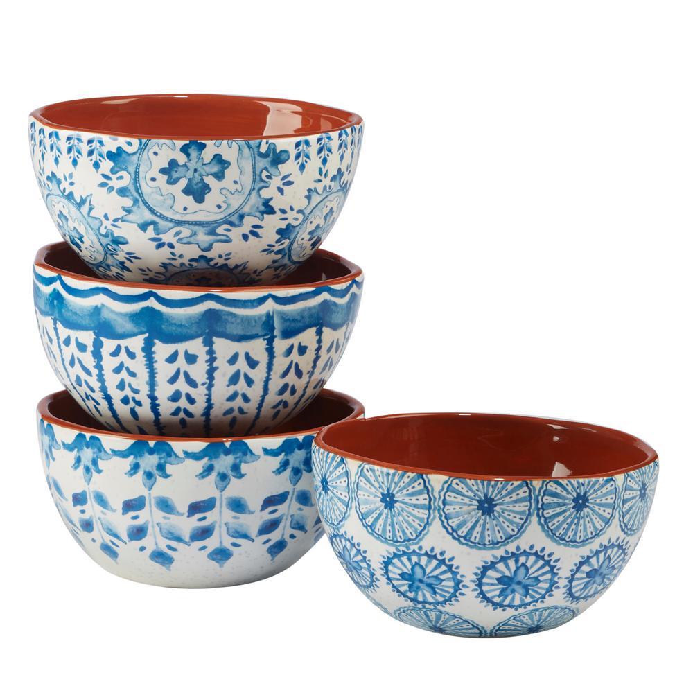 4 Set Certified International Valencia 9.25in Soup Pasta Ceramic Serving Bowls