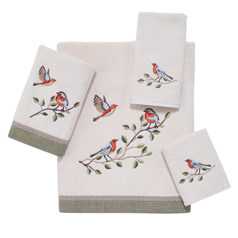 Bird Choir 4-Piece Bath Towel Set in Ivory