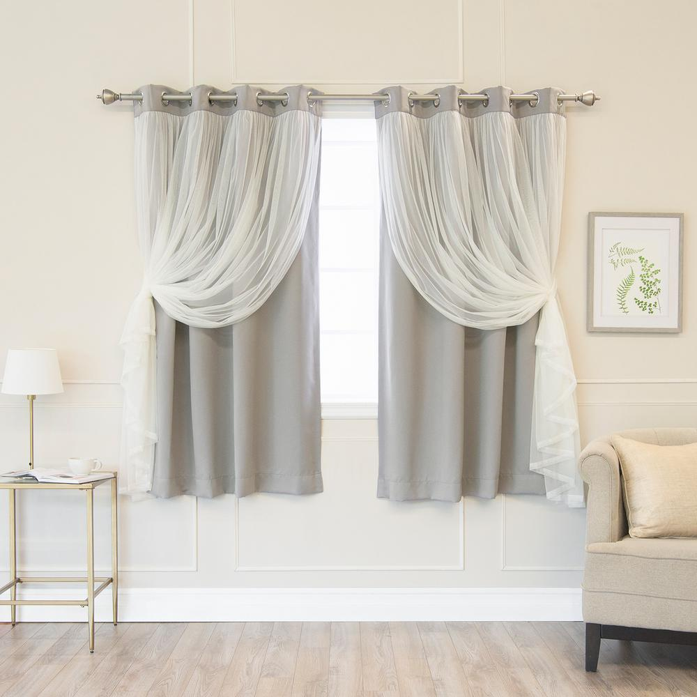Best Home Fashion 63 in. L Dove Marry Me Lace Overlay Blackout Curtain Panel (2-Pack)