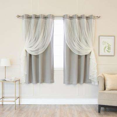 63 in. L Dove Marry Me Lace Overlay Blackout Curtain Panel (2-Pack)
