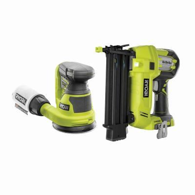 18-Volt ONE+ Cordless AirStrike 18-Gauge Brad Nailer with 18-Volt ONE+ 5 in. Random Orbit Sander (Tools Only)
