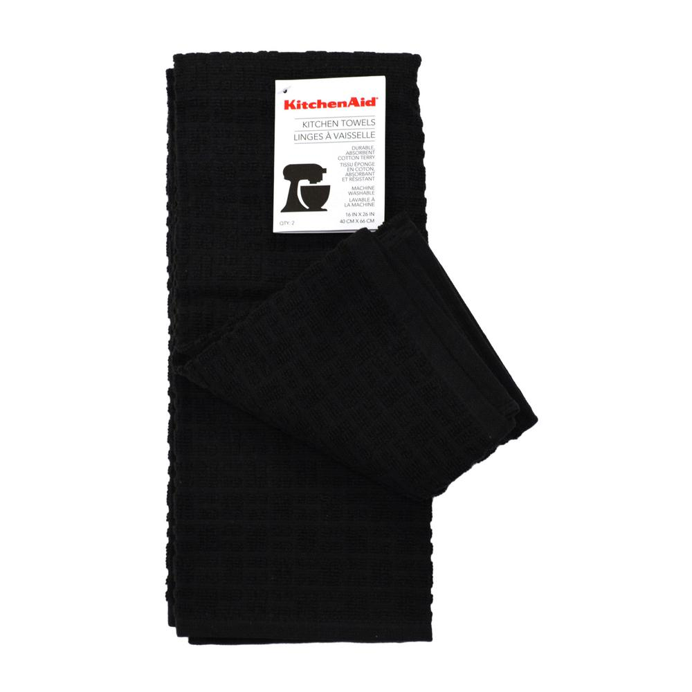Home Dynamix KitchenAid Adastral Solid Black Kitchen Towel ...