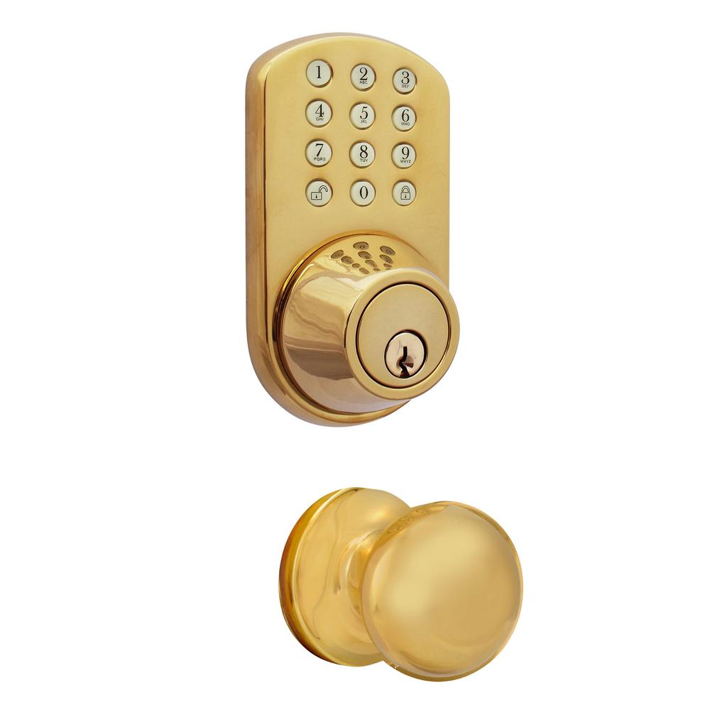 MiLocks Polished Brass Keyless Entry Deadbolt and Door Knob Lock Combo Pack with Electronic Digital Keypad