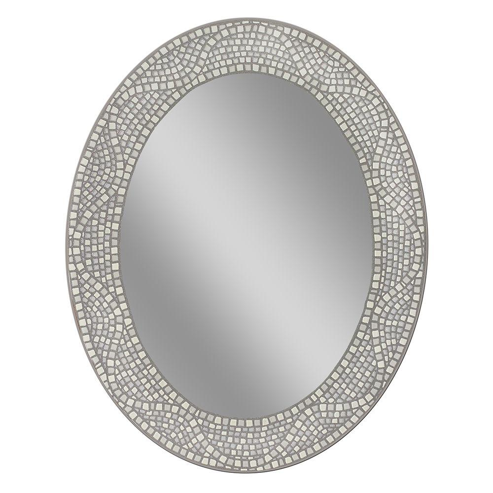Deco Mirror 23 In X 29 In Opal Mosaic Oval Mirror 8179