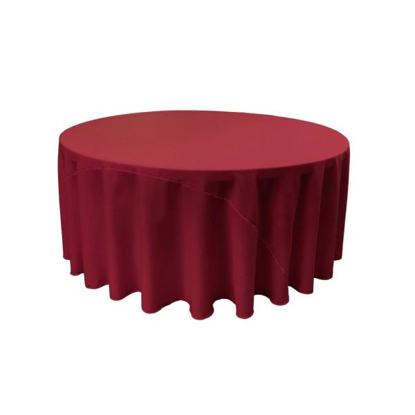 LA Linen 108 in. Cranberry Polyester Poplin Round Tablecloth TCpop108R_CranberryP28