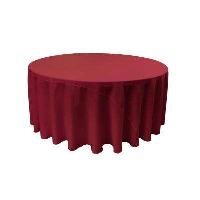 120 in. Round Cranberry Polyester Poplin Tablecloth