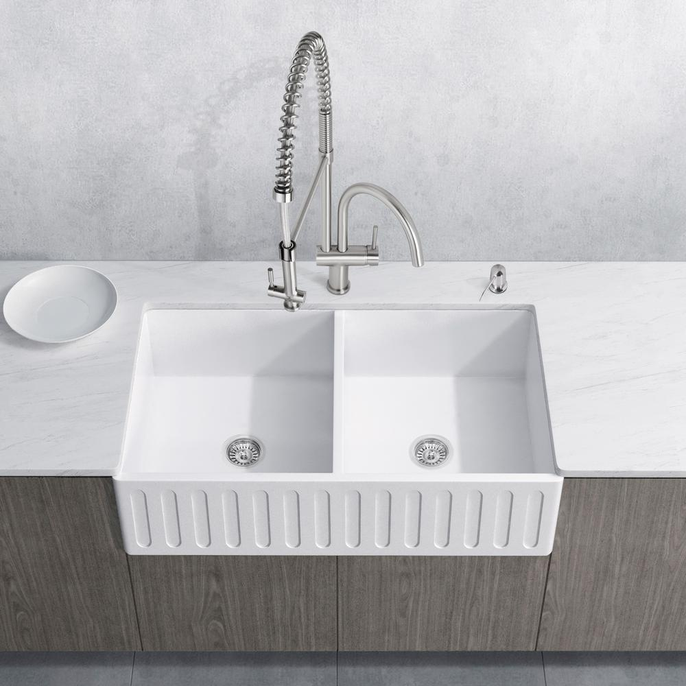 Vigo All In One Farmhouse A Front Matte Stone 36 0 Hole Double Bowl Kitchen Sink With Faucet White Kit
