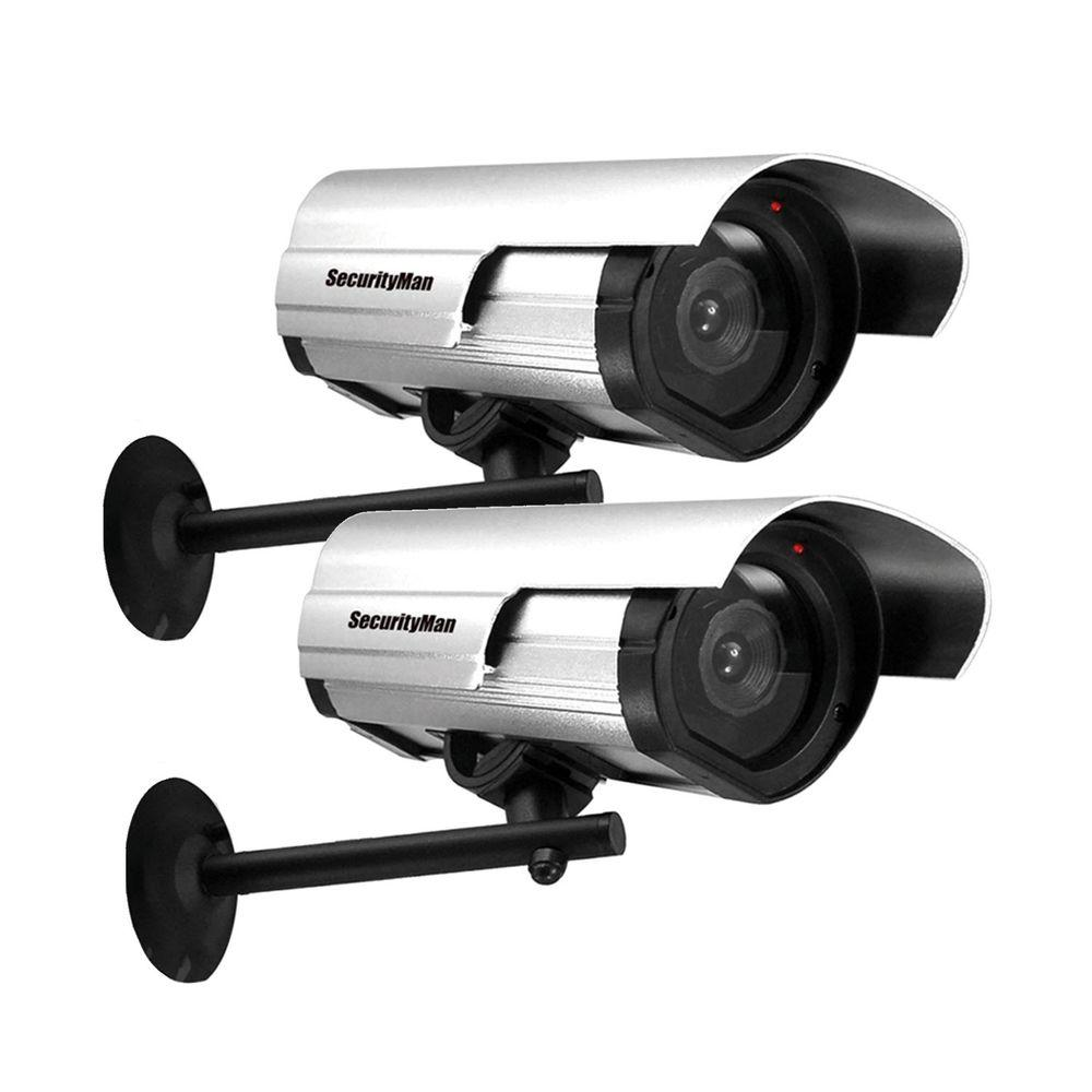 Securityman indoor outdoor dummy security camera with led 2 pack sm 3802 2pk the home depot for Home exterior security cameras
