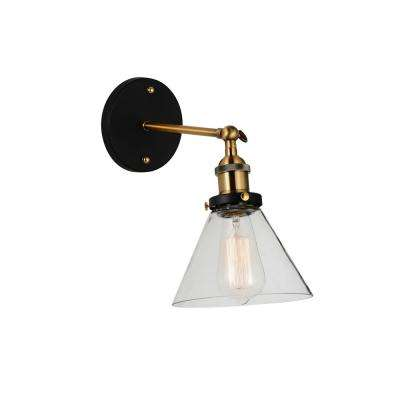 Eustis 1-Light Black and Gold Brass Sconce