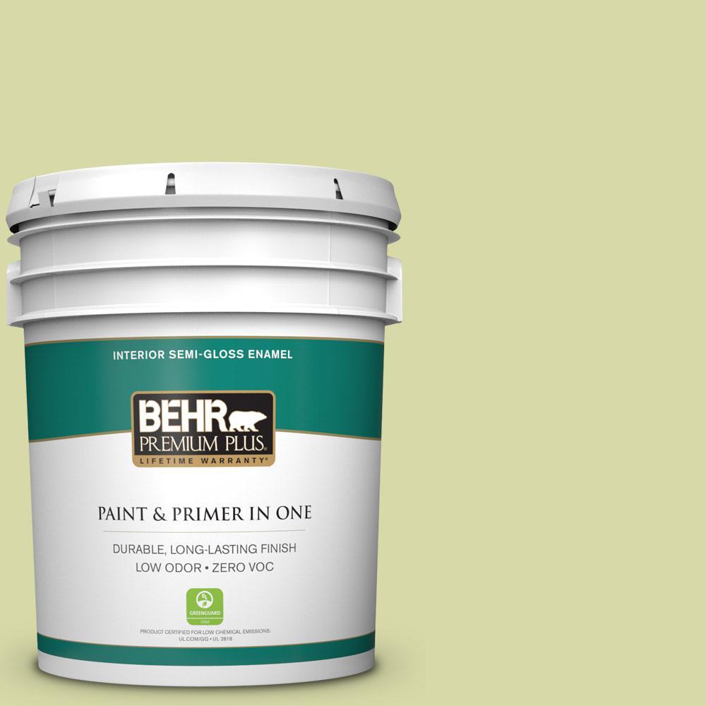 BEHR Premium Plus 5-gal. #410C-3 Celery Sprig Zero VOC Semi-Gloss Enamel Interior Paint