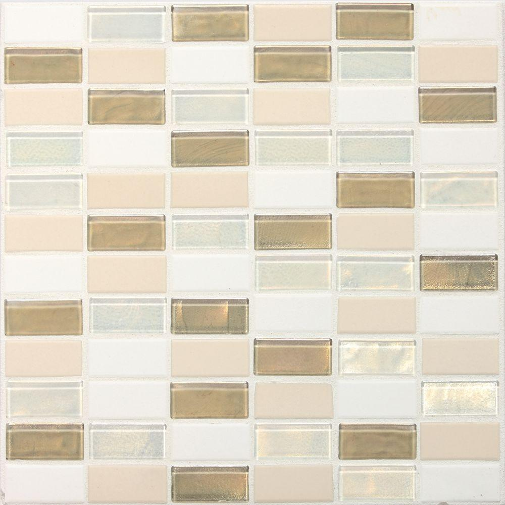 Daltile Coastal Keystones Coconut Beach 12 in. x 12 in. x 6 mm Glass Mosaic Floor and Wall Tile