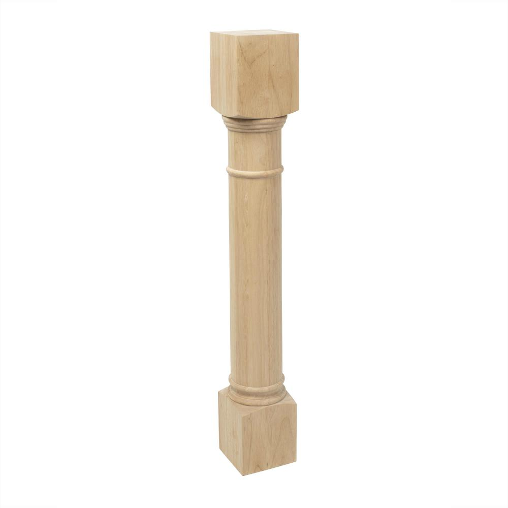 American Pro Decor 35-1/4 in. x 5 in. Unfinished Solid Hardwood Traditional  Full Round Kitchen Island Leg