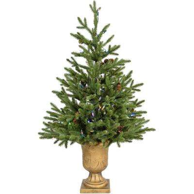 3 ft. Noble Fir Artificial Tree with Metallic Urn Base and Battery-Operated Multi-Colored LED String Lights