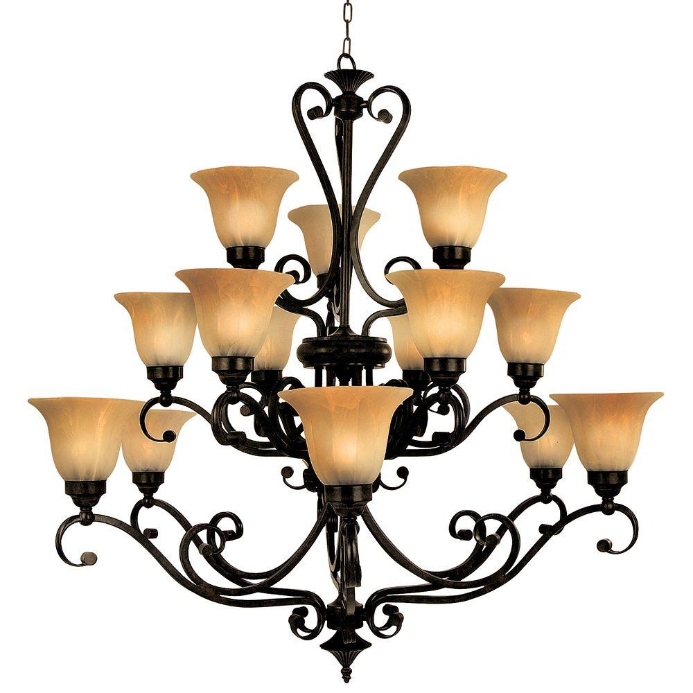 Yosemite Home Decor Florence Collection 15-Light Venetian Bronze Hanging Chandelier with Marble Sunset Glass Shade