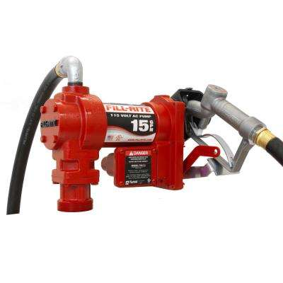 115-Volt 15 GPM 1/6 HP Fuel Transfer Pump with Standard Accessories (Manual Nozzle)