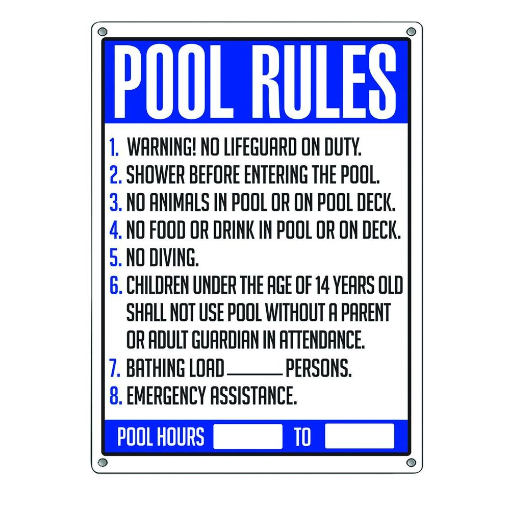 Poolmaster Pool Rules Sign 40326 The Home Depot