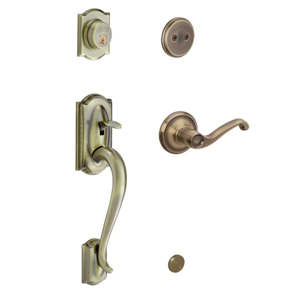 Camelot In-Active Antique Brass Handleset with Left-Hand Flair Lever